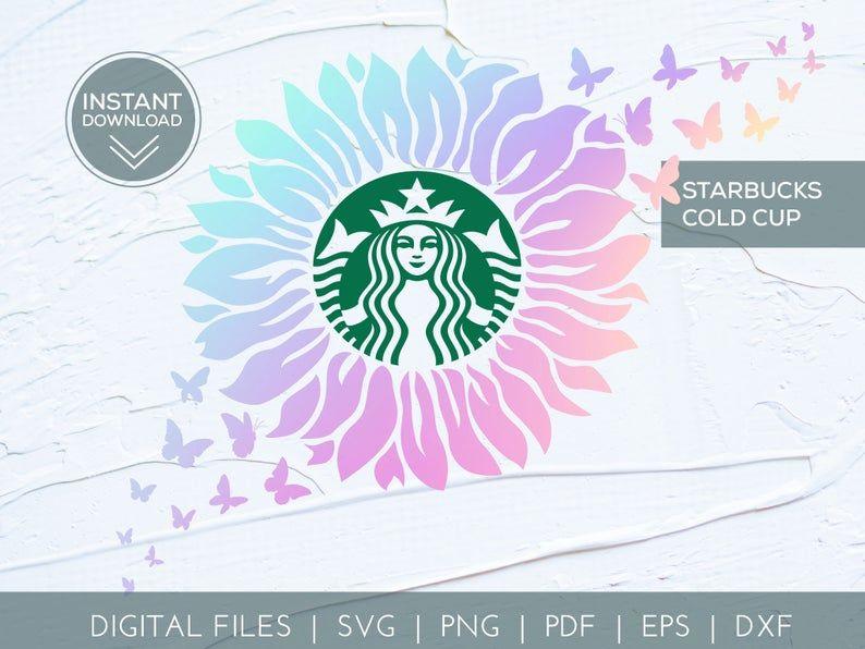 Sunflower Butterflies Starbucks Reusable Cold Cup Summer Etsy Starbucks Logo Cricut Cricut Svg