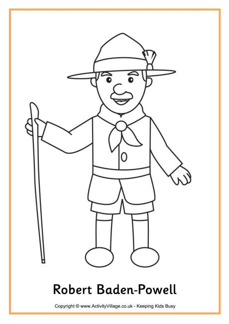 Robert Baden-Powell colouring page | Scouts | Pinterest