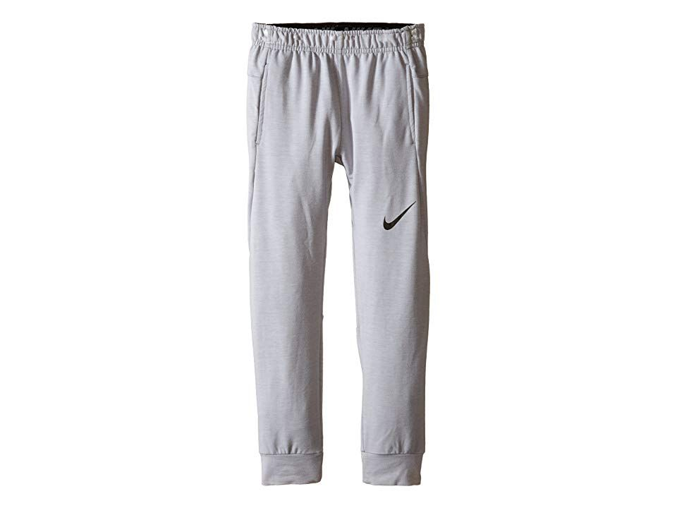 Nike Kids Training Fleece Pants (Little Kids) (Wolf Gray Heather) Boy's Casual Pants. He'll be movin' and groovin' in the comfy Training Fleece Pant. Regular fit is relaxed  but not sloppy  and perfect for workouts or everyday activities. Dri-FIT high-performance fabric wicks perspiration away from the body and towards the surface where it can evaporate. Elastic waist provides a comfortable fit. On-seam hand pockets. Iconic Sw