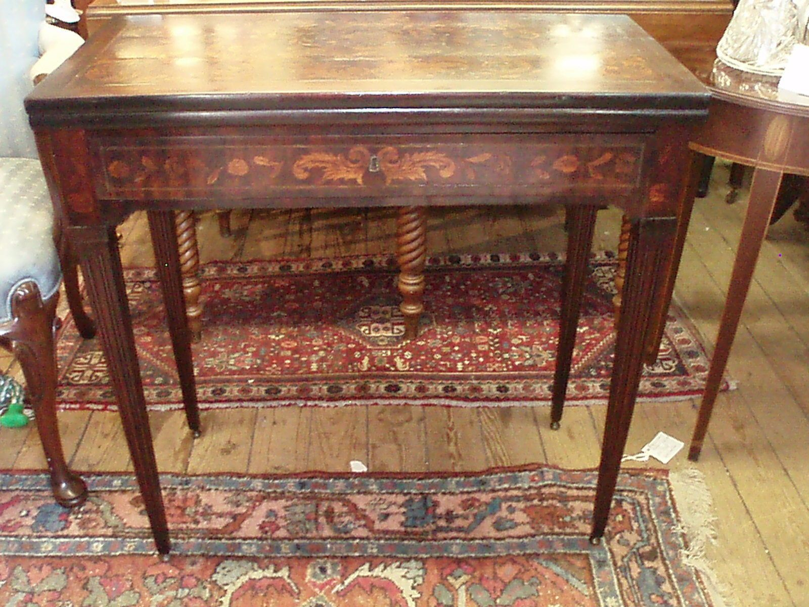 Antique Dutch Marquetry Flip Top Game Table 1730 40  EBay