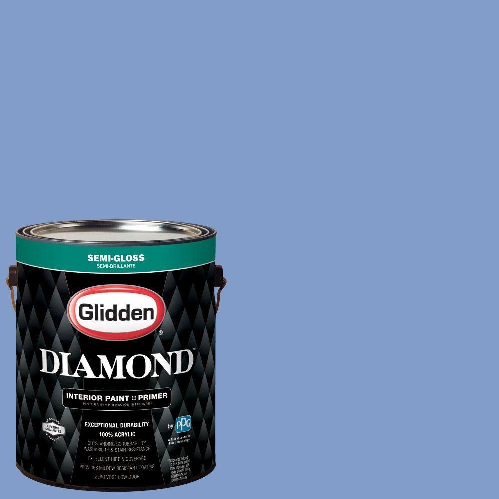 Ppg Diamond 1 Gal Hdgv28d Blue Phlox Semi Gloss Interior Paint With Primer Hdgv28dd 01sn Interior Paint Paint Primer Flat Interior