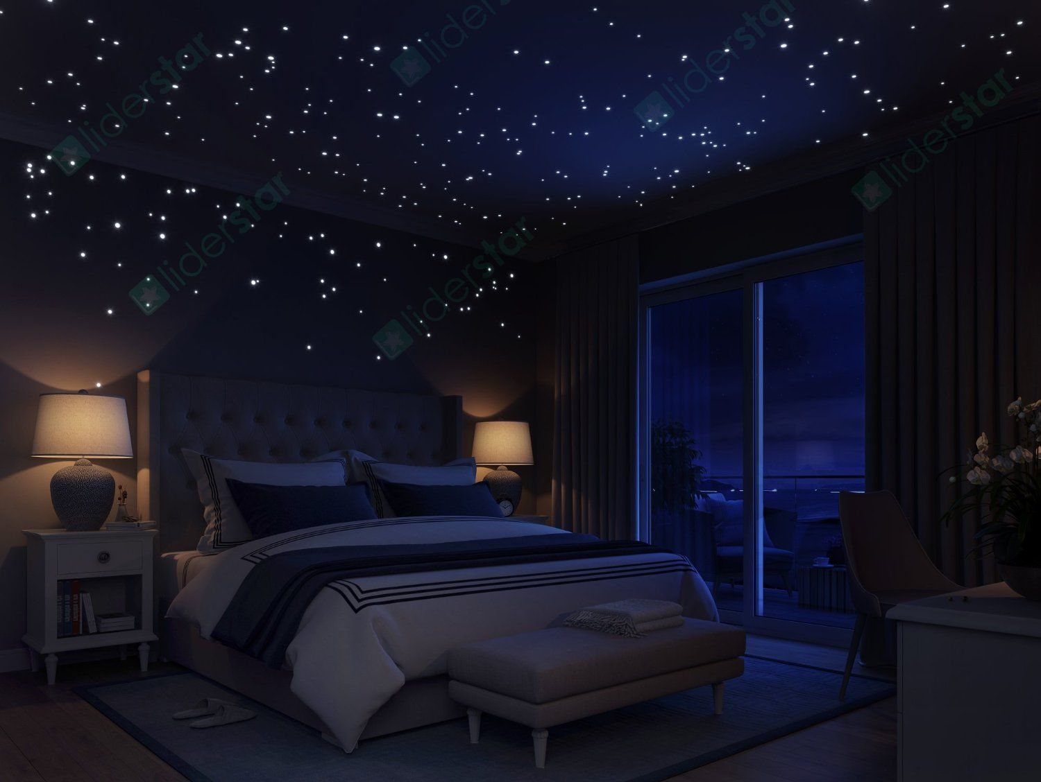 Girls Wallpaper Decals With Eiffel Tower Glow In The Dark Stars Wall Stickers 252 Dots And Moon