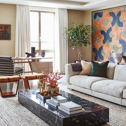 Statement Wall Living Room - A Flat in Chelsea   Real Homes - on HOUSE - design, food and travel by House & Garden. Interior designer Sophie Ashby creates a glamorous yet relaxed family home.