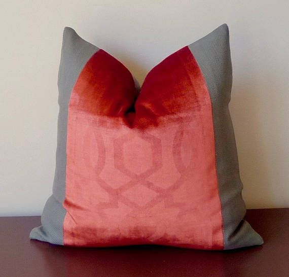 High End Designer Throw Pillows Part - 22: Burnt Orange/Red Grey Decorative Designer Pillow, Geometric High Luster  Embossed Velvet Pillow,