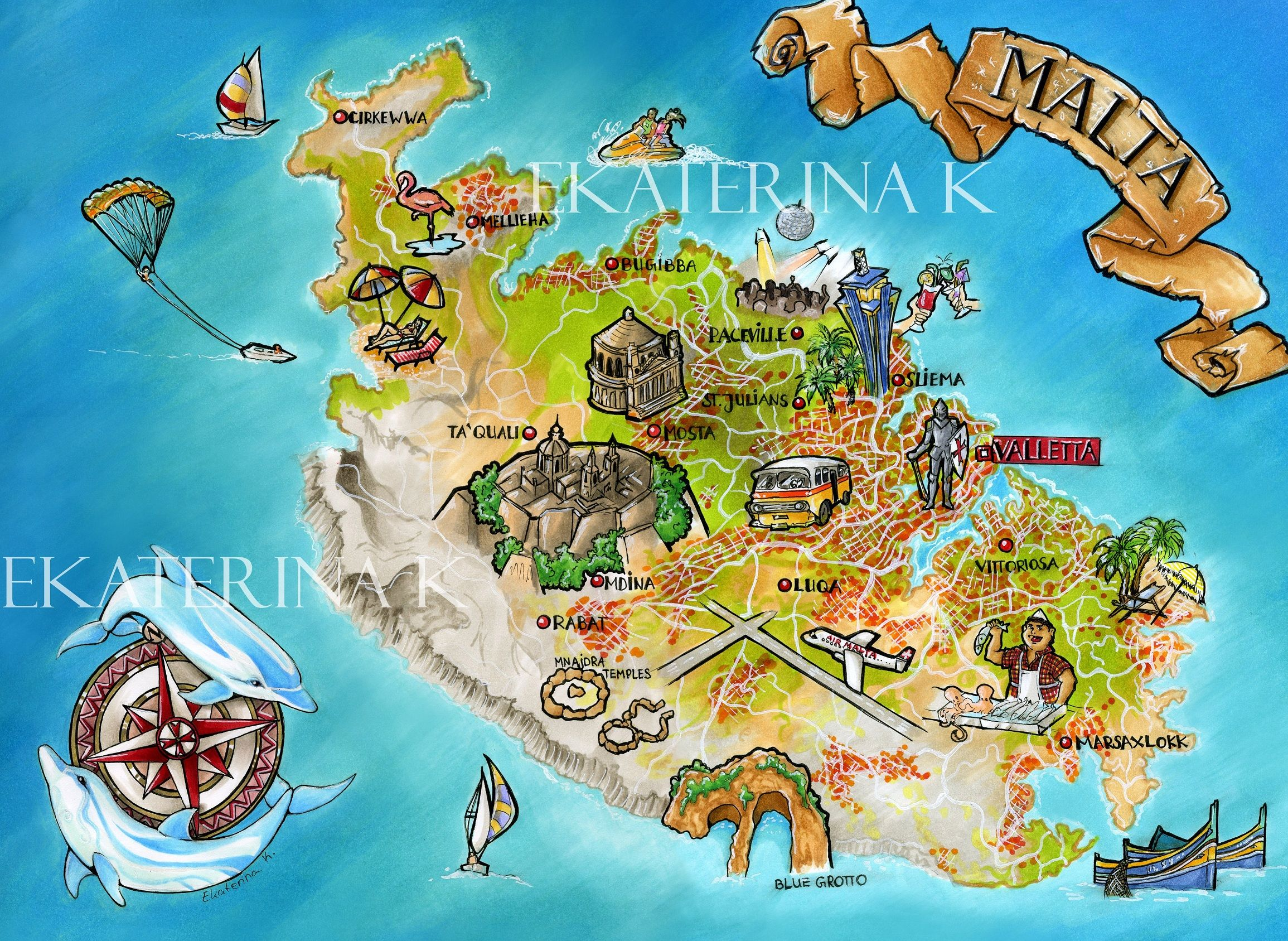 Malta Island Travellers Map Malta Pinterest Malta island