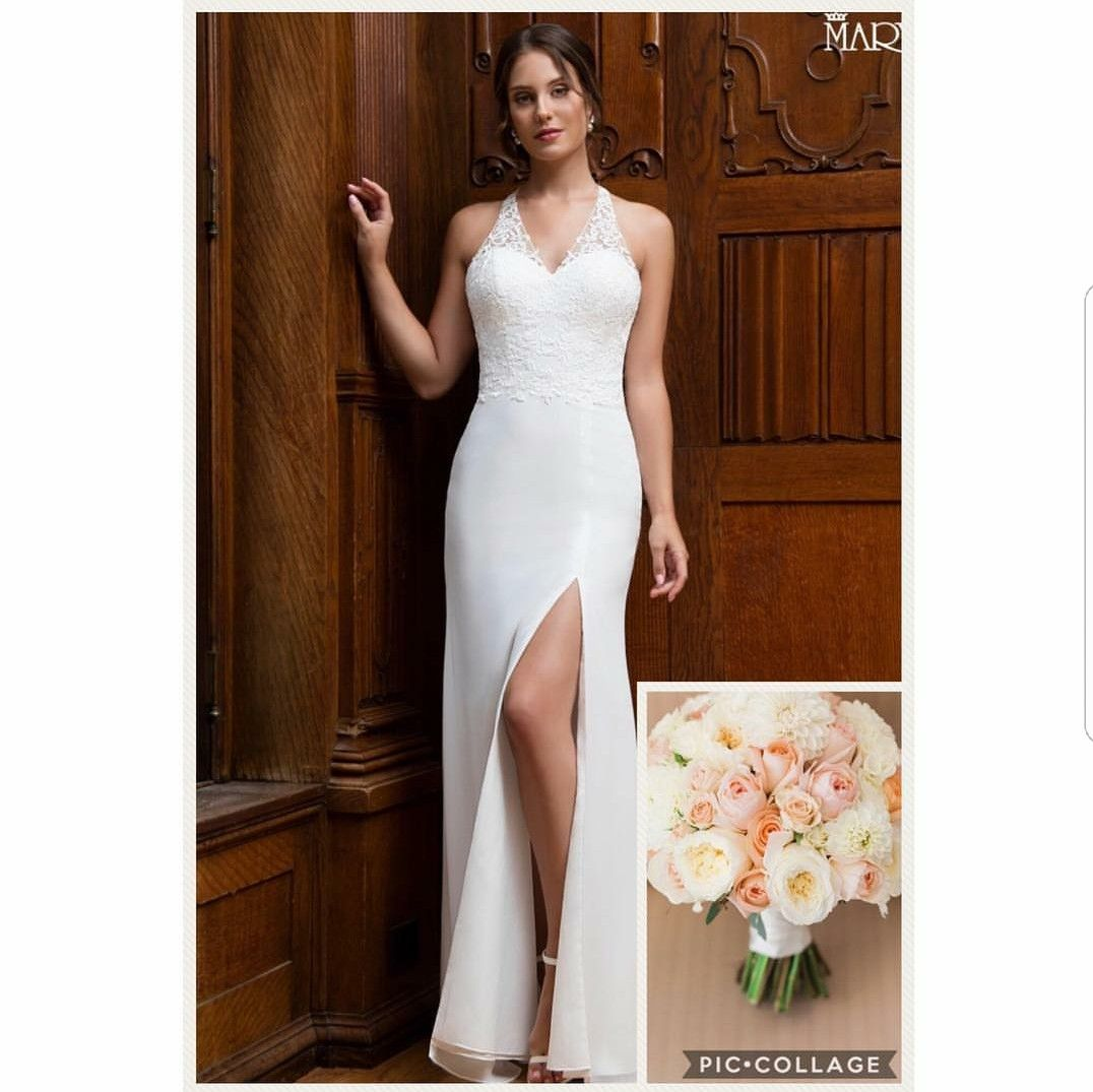 Silk sheath wedding dress  Chiffon and lace appliques sheath with Vneck Halter top racer back