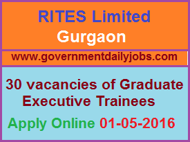 RITES LIMITED RECRUITMENT 2016 APPLY ONLINE FOR 30 GET THROUGH GATE 2016 ~ Government Daily Jobs