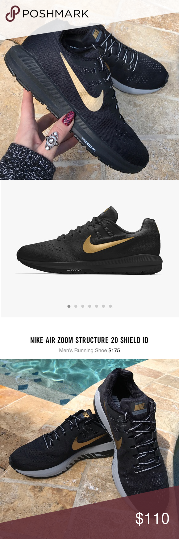 NWT Nike ID zoom structure 20 Brand new no box,price is firm!!size 8.5 N  black with gold swoosh Always there to support you, the Nike Air Zoom  Structure 20 ...