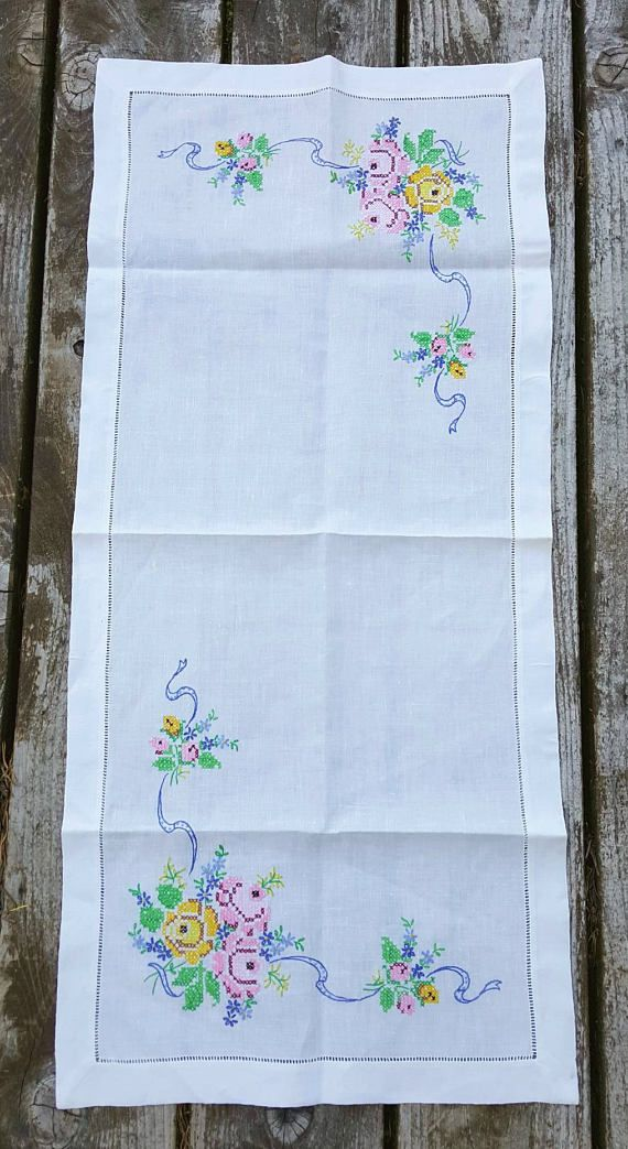 Vintage Linen Dresser Scarf Or Table Runner White