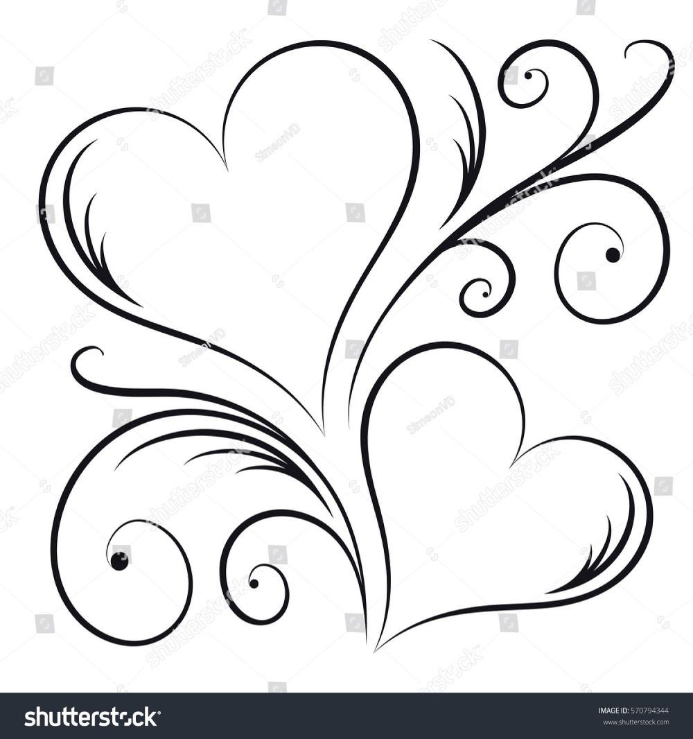 Two Hearts Swirl Elements Stock Vector Royalty Free 570794344 Flower Drawing Art Drawings Simple Heart Coloring Pages