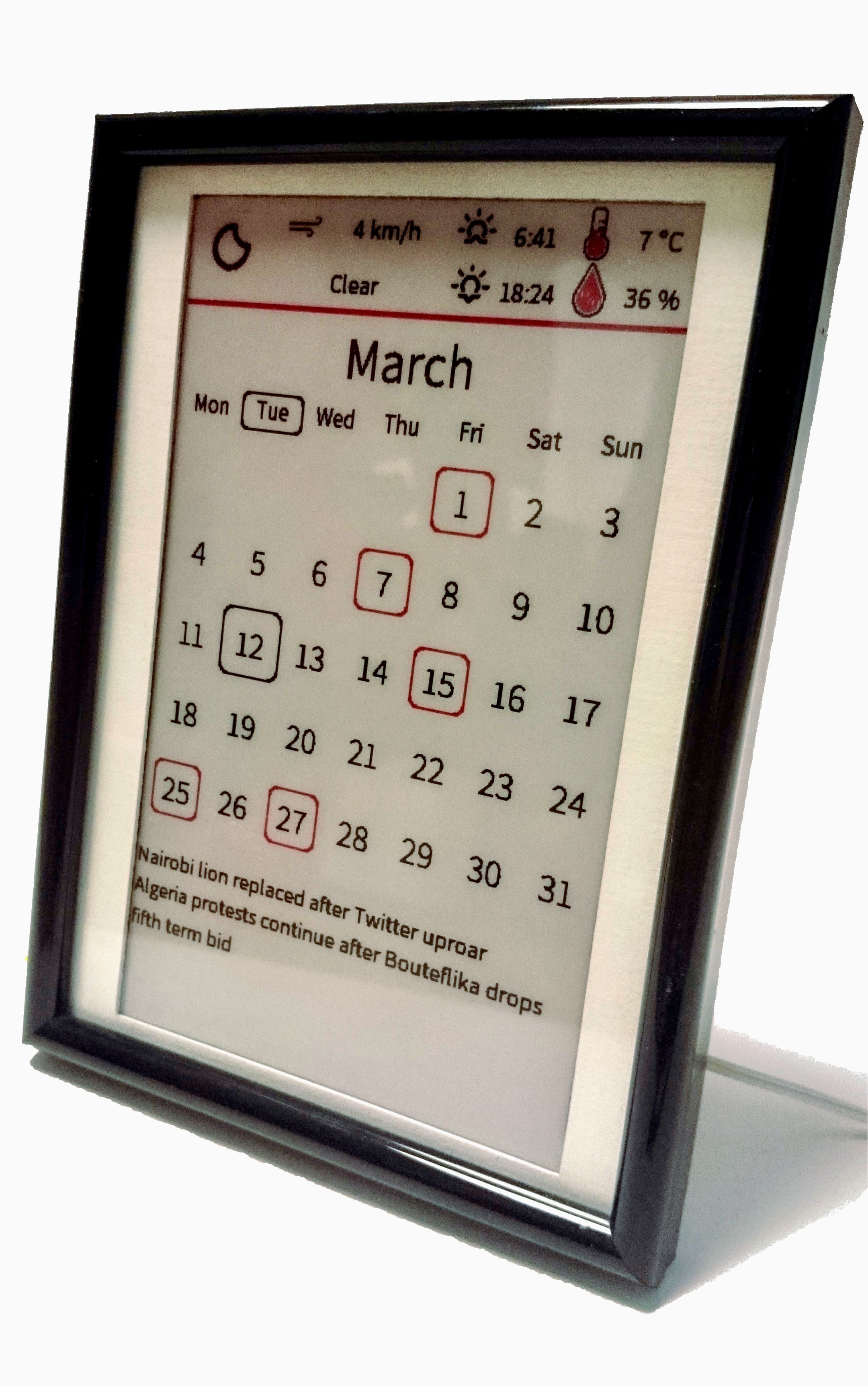 Display All The Info You Need For Your Day On This E Paper