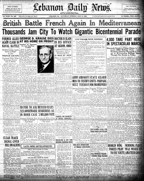 July 6, 1940 Historical newspaper, British battle