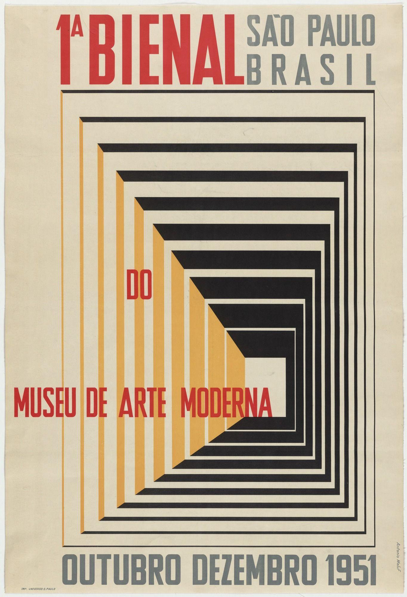 Antônio Maluf. 1a Bienal do Museu de Arte Moderna, São Paulo Brasil. 1951 | Museum of modern art, Graphic design advertising, Exhibition poster