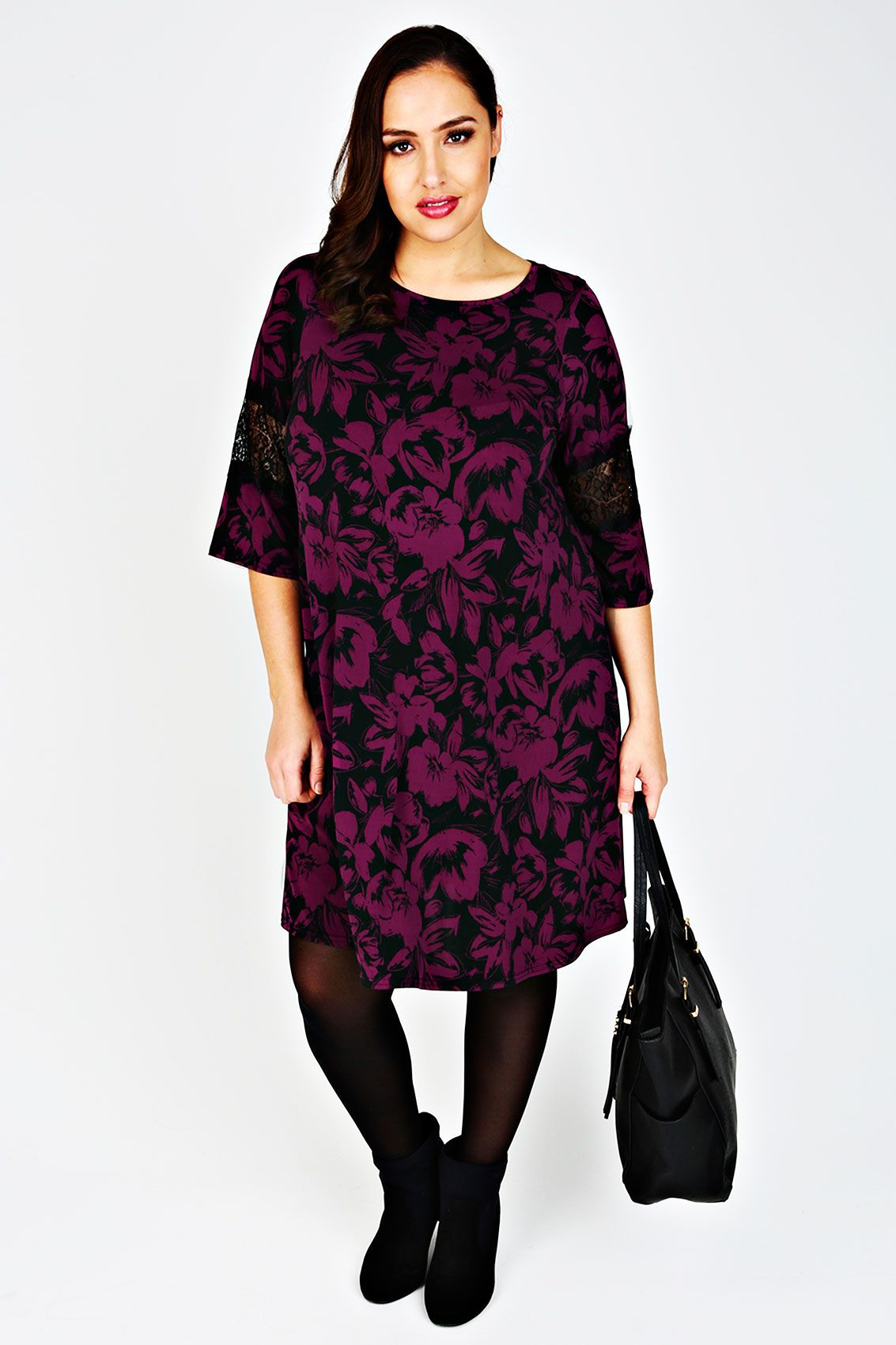 77bfa8a1ef07 Purple   Black Floral Print Dress With Lace Half Sleeves