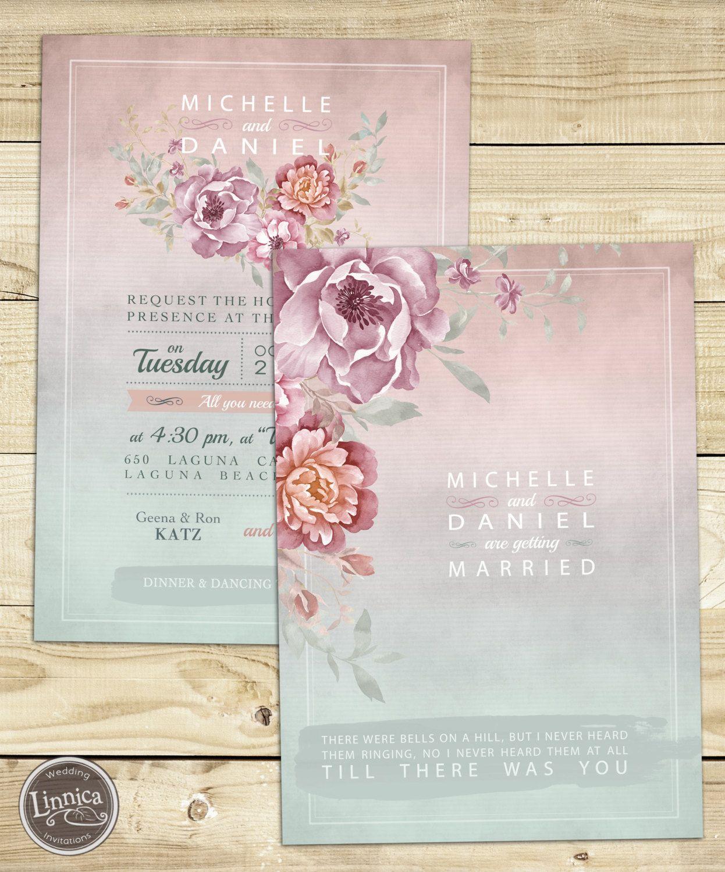 Tender Watercolor Wedding Invitation Printable DIY by Linnica ...