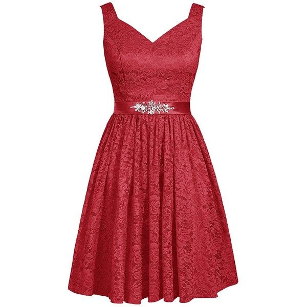 Dresstells® Short Bridesmaid Dress V-neck Lace Homecoming Dress Party... (120 CAD) ❤ liked on Polyvore featuring dresses, homecoming dresses, red bridesmaid dresses, short cocktail dresses, short party dresses and red cocktail dress