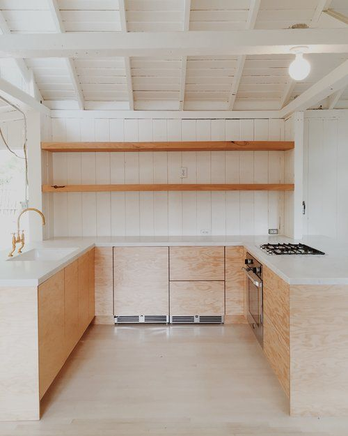 Exposed Shelving, Douglas Fir Plywood, Marble