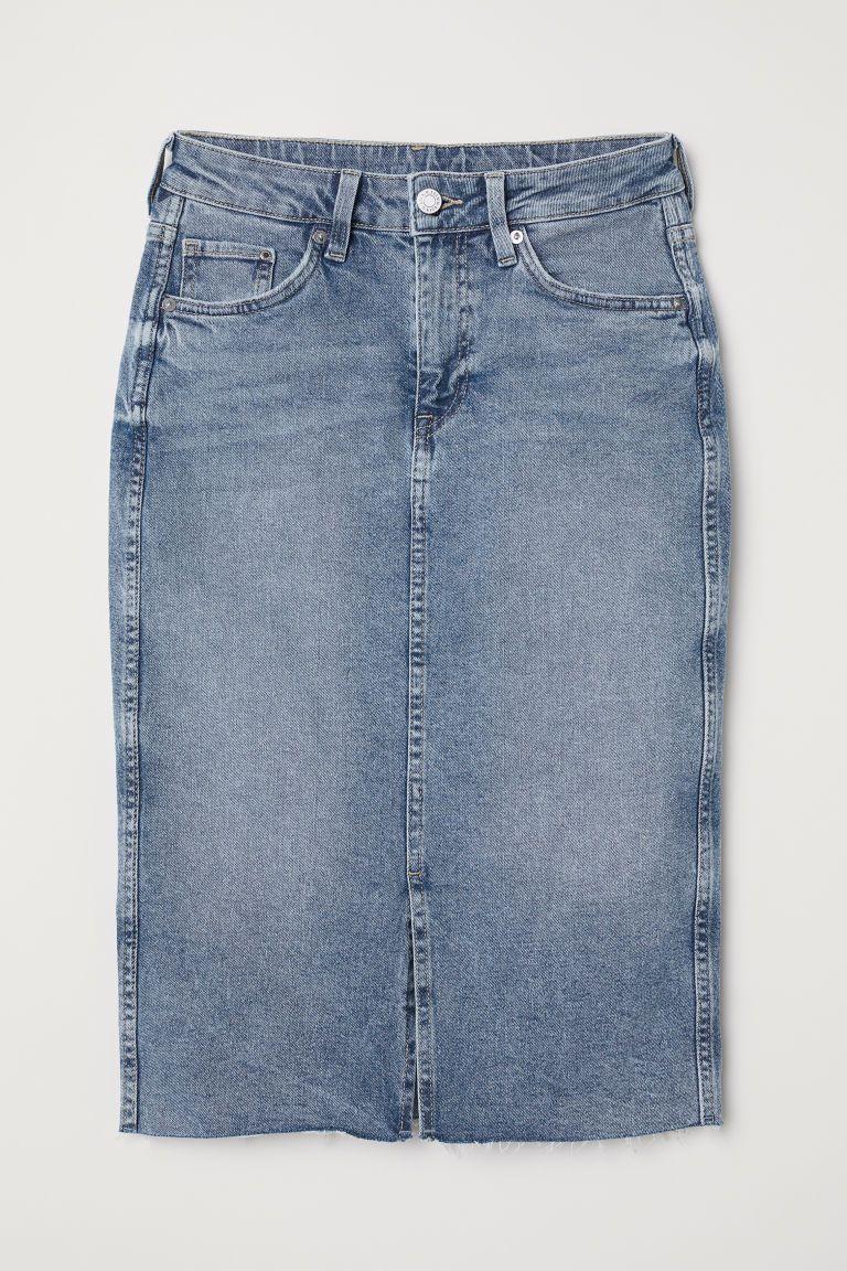ea12574a398c H&M Knee-length Denim Skirt - Blue in 2019 | w a r d b r o b e ...