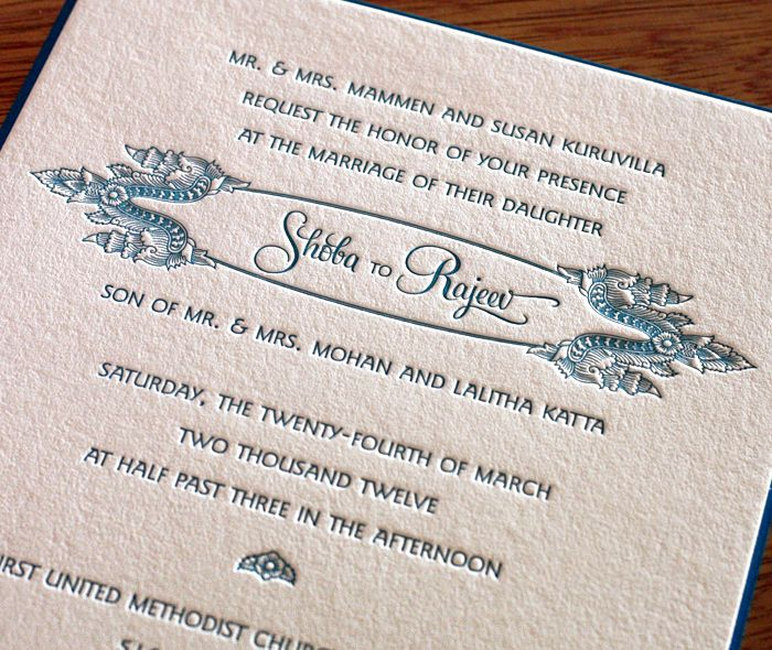 Shoba Letterpress Wedding Invitation By Invitations By