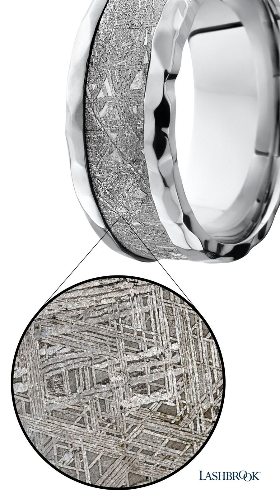 Up close view of the meteorite inside this menus wedding band west