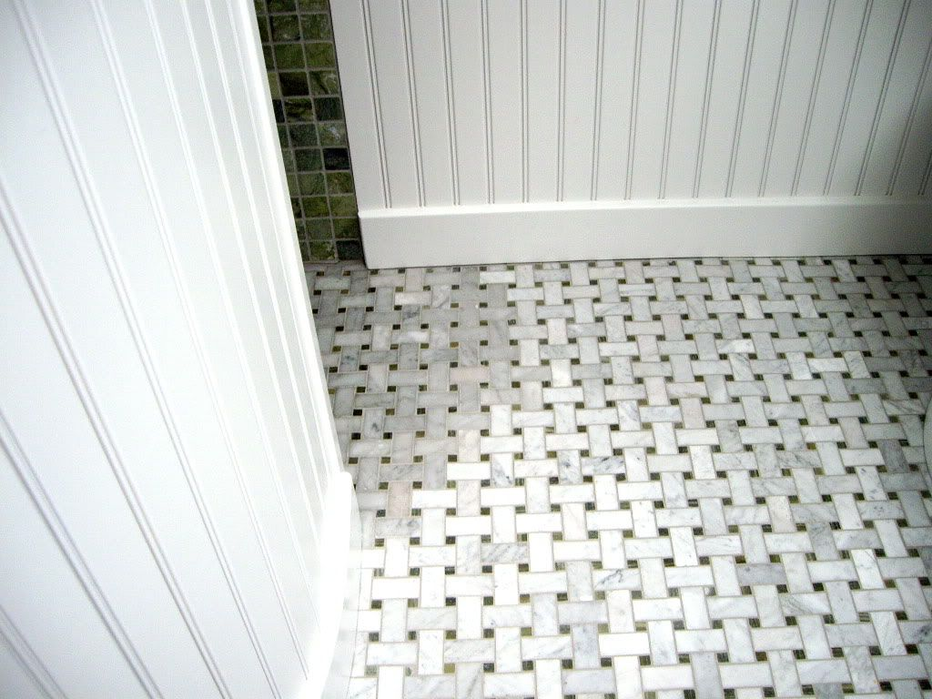 Basketweave Tile Flooring Bathroom Carrera Marble Discoloring Bathrooms Forum Gardenweb Crafts Pinterest Tiling Ideas And