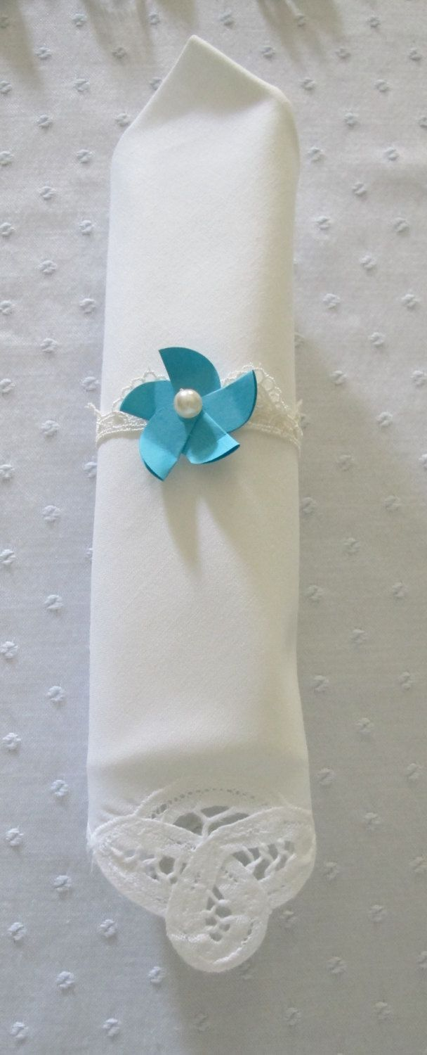100 Aqua Tiffany Blue Flower Napkin Rings With Ribbon And Lace Bands For Weddings