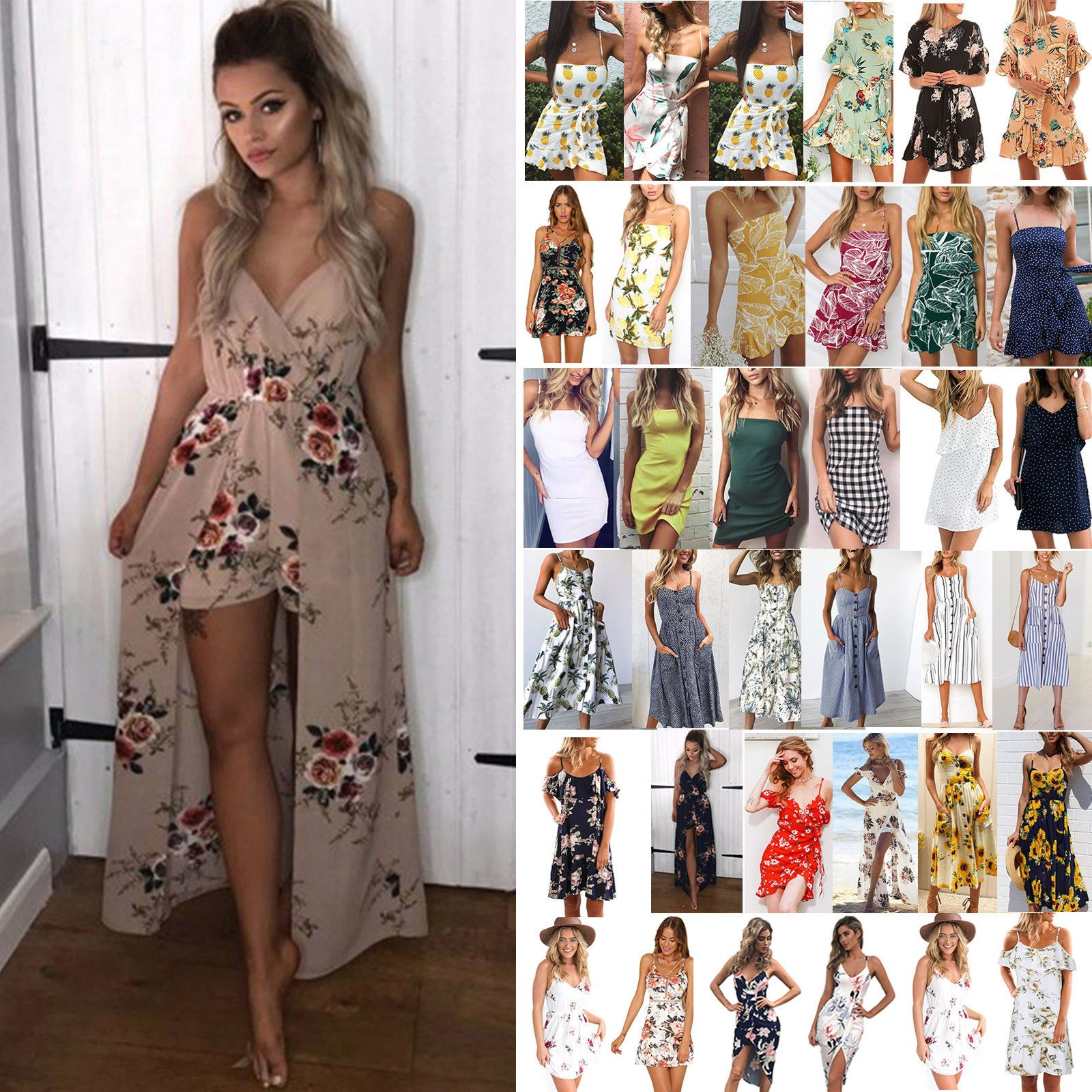 d86f3dad40 Women Casual Vacation Solid Color Loose Sundress Summer Party Holiday Mini  Dress - Khaki Dresses -