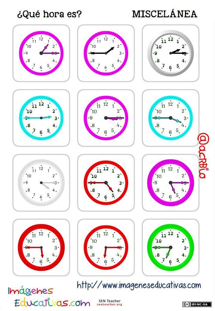 Trabaja Las Horas Y Con Estas Fichas De Relojes Analógicos Fichas Imagenes Educativas Aprender La Hora