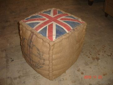 cube ottoman with Union Jack top, mattress hand stitched grain sack on the sides