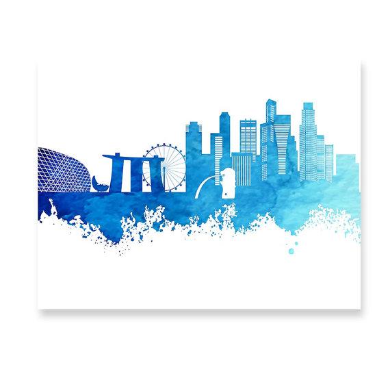 Singapore Skyline Painting Poster Print Navy Blue Turquoise Skyline Painting Poster Prints Cityscape Painting