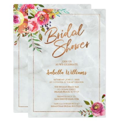 Watercolor Flowers Copper White Marble Wedding Card Wedding card - online engagement invitation cards free