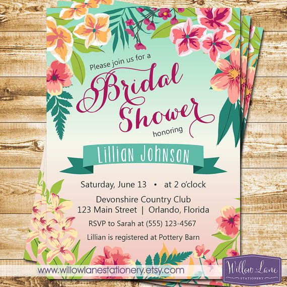 Luau Greenery Hibiscus Bridal Shower Invite Tropical Bridal Shower Invitation