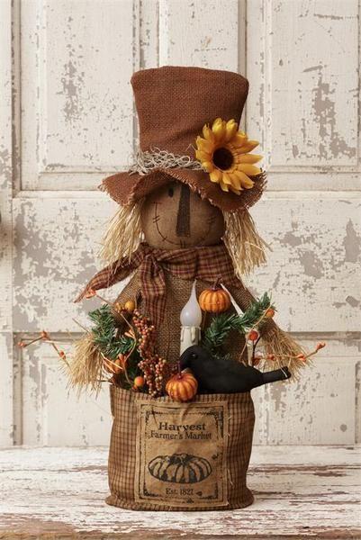 "New Primitive Rustic STANDING FARMER SCARECROW DOLL HAPPY FALL Y/'ALL Pumpkin 29/"""