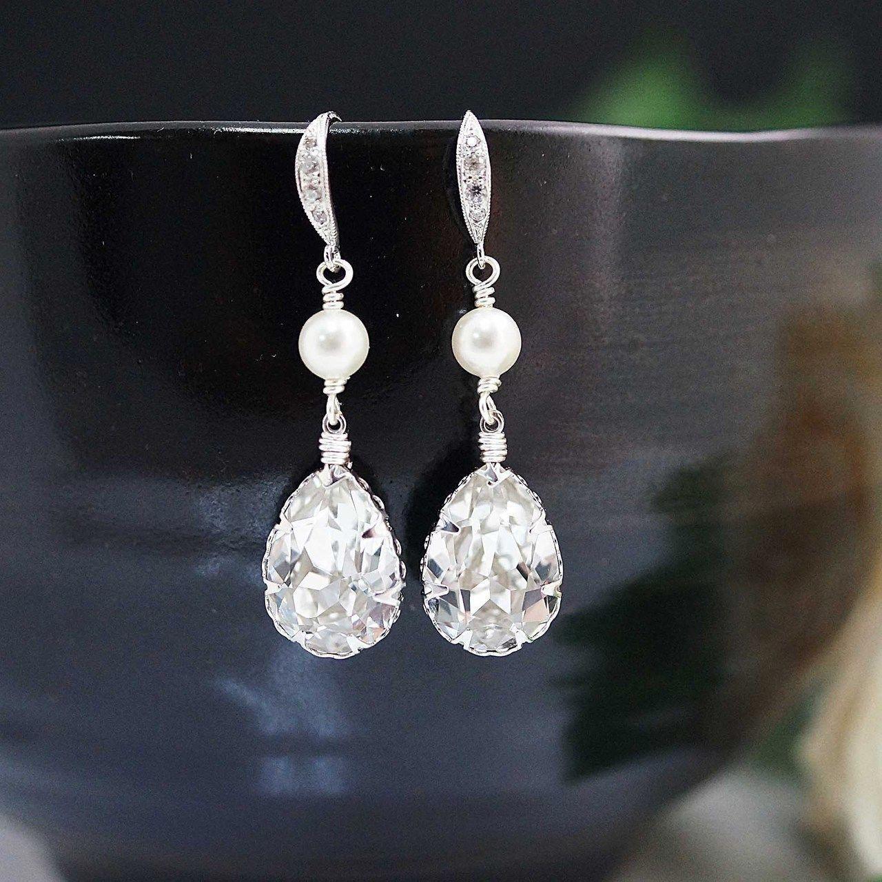 3495f1081 Swarovski crystal with pearl Bridal Earrings - Earrings Nation  #bridaljewelrywearmorethanonce