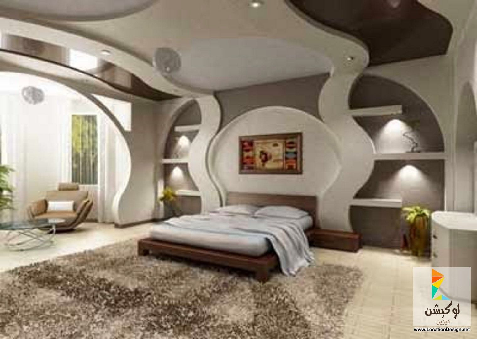 ديكور جبس غرف نوم عرسان Elegant Home Decor Modern Bedroom Design Futuristic Bedroom