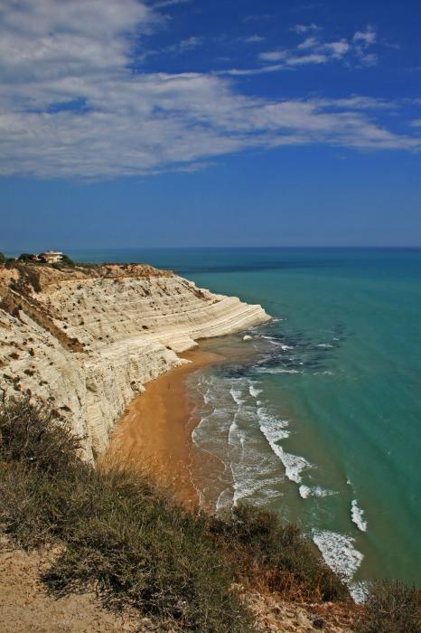The Sicilian coast meeting the Mediterranean Sea.