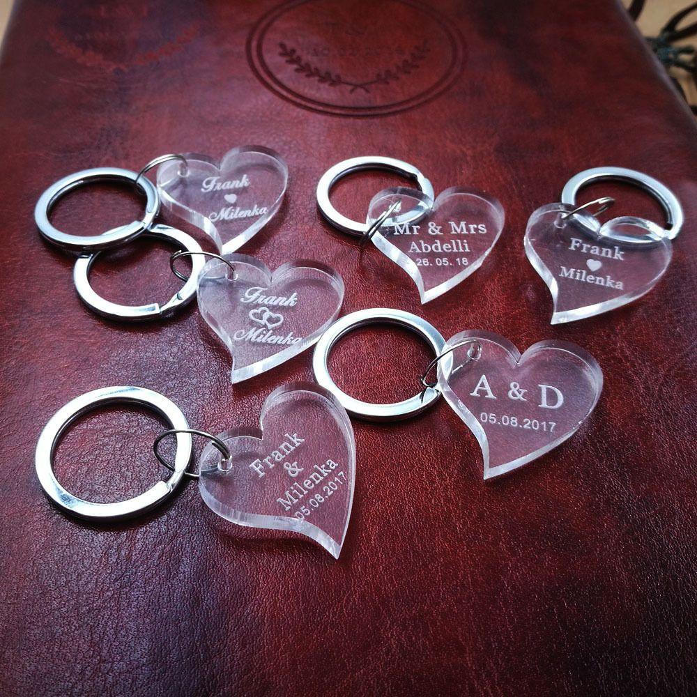 Heart engraved clear acrylic laser personalized name key