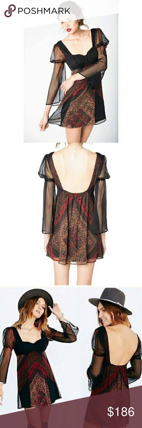 FINAL PRICE! NWOT Stone Cold Fox Montana dress NWOT. Stone cold fox Montana dress. Perfect paired with otk black suede boots for Fall! ?? Size 1 which is equivalent to a S.  Details   -Unique chiffon mini-dress in Violante print  - Slight sweetheart neckline with structured, built-in bust padding  - Flared, long sleeves of sheer chiffon feature an elastic detail  - Fully lined with washed crepe  - A low, square-cut back has elastic between the shoulders  - Body: 100% silk Chiffon  - Lining…