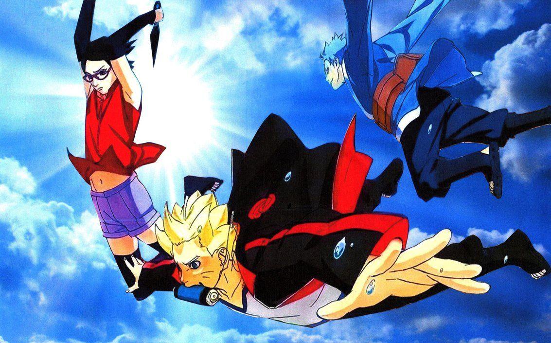 (Naruto Gaiden) Wallpaper Special New Team 7 Free Falling