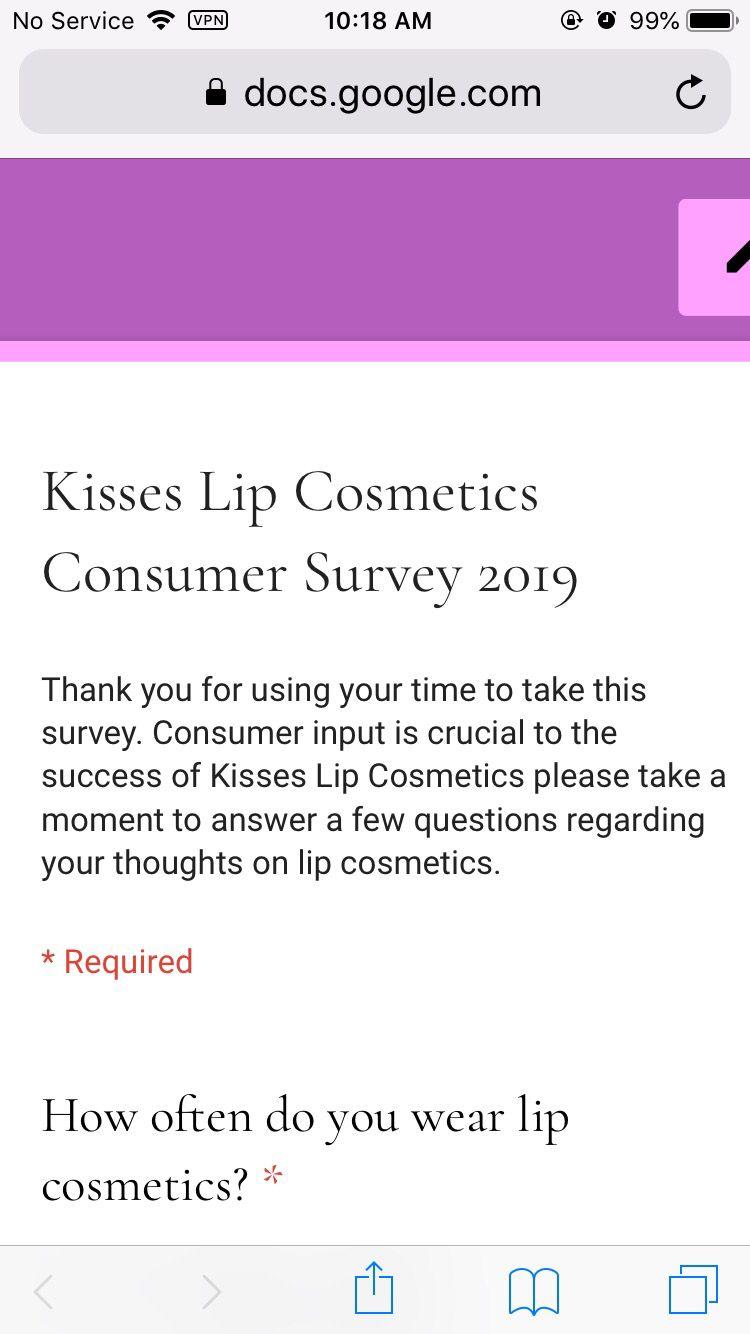 Kisses Lip Cosmetics Consumer Survey 2019 Lip Cosmetics Lips