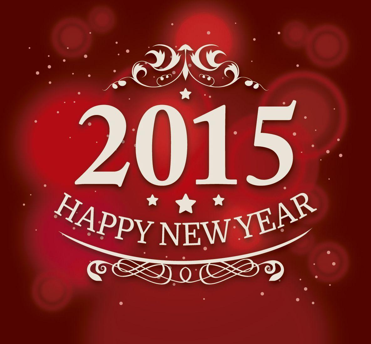 Happy New Year 2015 Red Swirls Design Greeting Download Happy New
