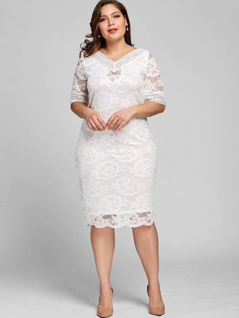 Gamiss Plus Size V Neck Half Sleeve Lace Dress Bodycon 2018 Womenrricdress c6f3f0b04d80