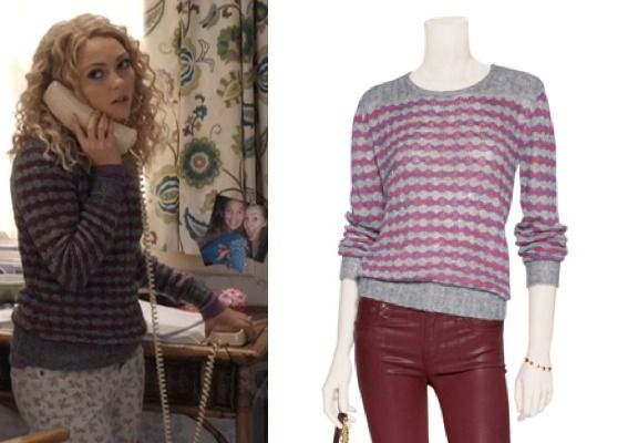 69625b5a1db1 Carrie Diaries episode 3  Carrie s (AnnaSophia Robb) Red and Grey Striped  Lurex Twinkle Sweater from Marc by Marc Jacobs  getthelook  carriediaries