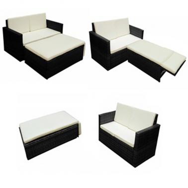 Conjunto de mueble negro de poli ratán de jardín[2/6] | DECORACIÓN ...