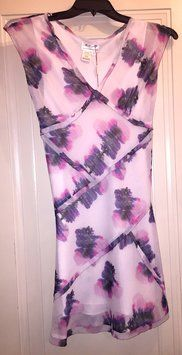 113bf4ea12296d White Fuchsia Purple Abstract Floral Short Casual Dress