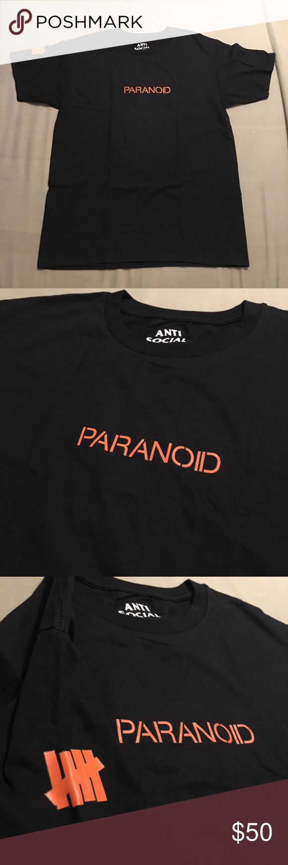 a9c60233 Anti Social Social Club Paranoid Tee ASSC x Undefeated Paranoid T-shirt in  Black Brand new and 100% authentic Ready to ship the same day Anti Social  Social ...
