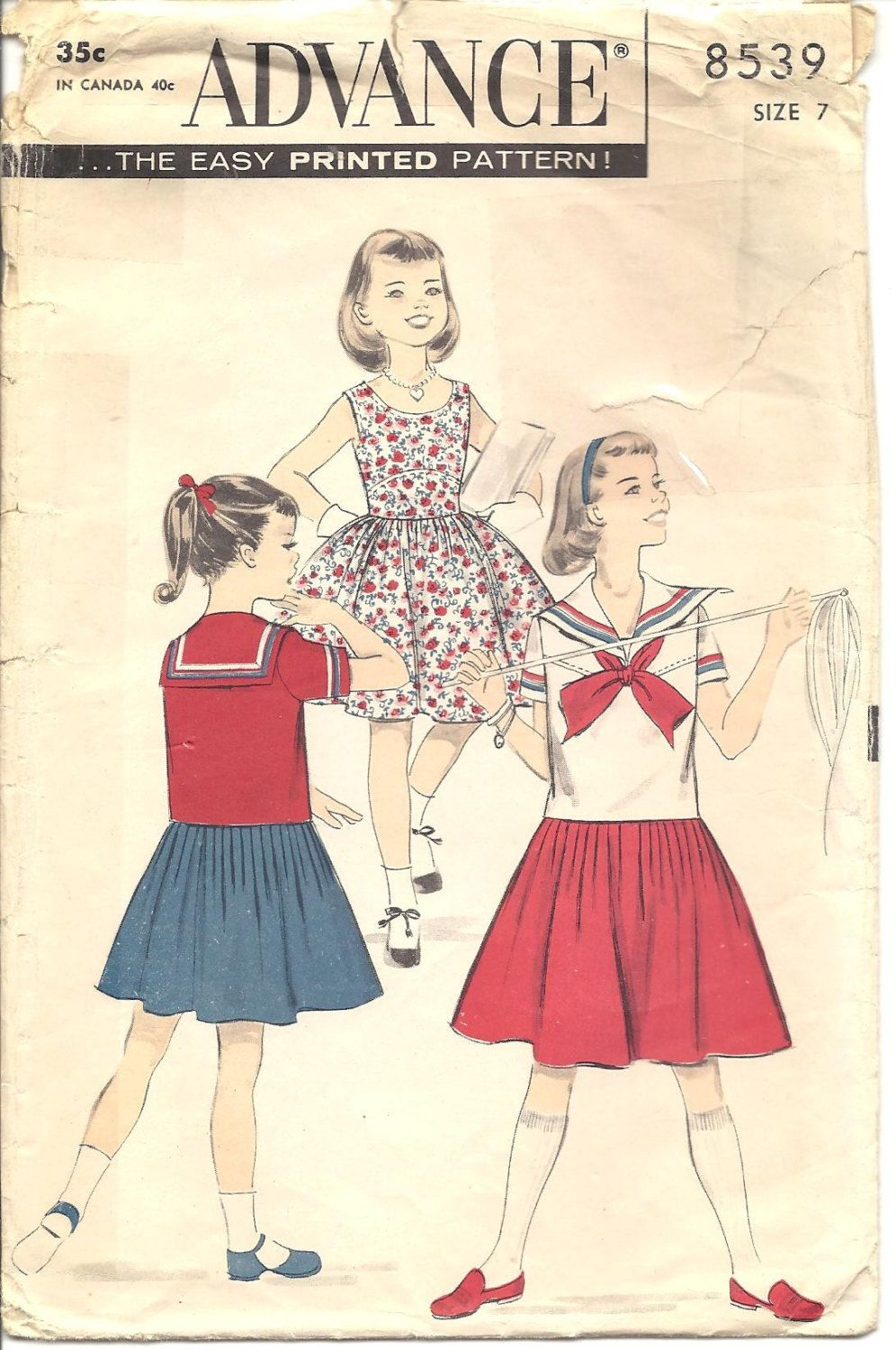 Vintage 50s Advance Girls Dress Sailor Middy Top Sewing Pattern 8539 ...