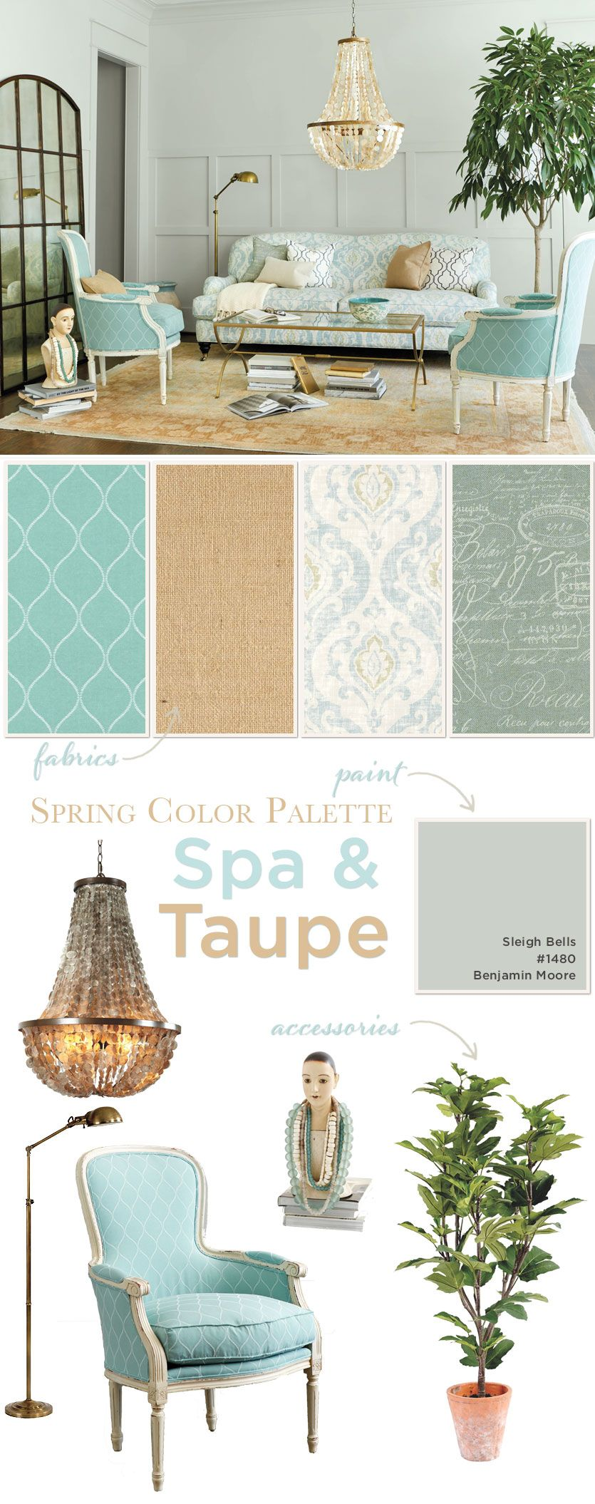 living room in spa taupe color palette - Home Decor Color Palettes