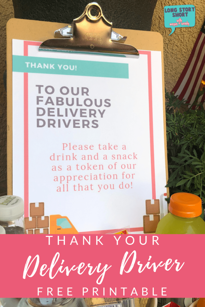 Free Delivery Driver Printable Sign Long Story Short Delivery Driver Snack Delivery Thank You Baskets