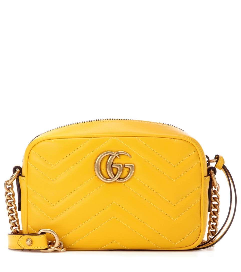 f1b3487b6d1d GG Marmont Mini yellow matelassé leather crossbody bag | Aomaom ...